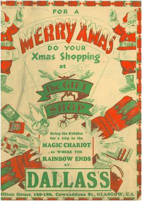 Front cover of Dallas's Ltd Leaflet advertising Christmas gifts