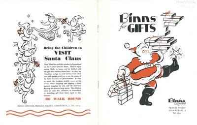 Cover of Binns Ltd Edinburgh branch Christmas gift catalogue