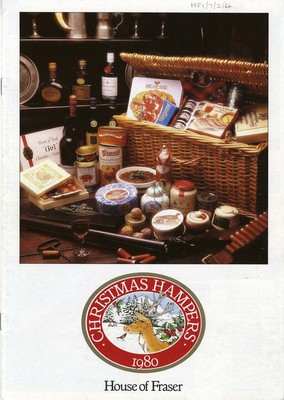 Brochure advertising House of Fraser Christmas food and wine hampers, 1980