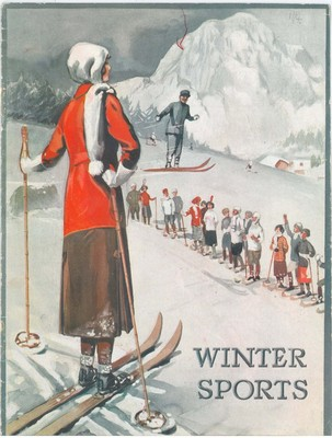 Front cover of Dickins & Jones Ltd Winter Sports catalogue. If you were shopping for a skiing gift in London in the 1920s, Dickens & Jones would have been your first stop.