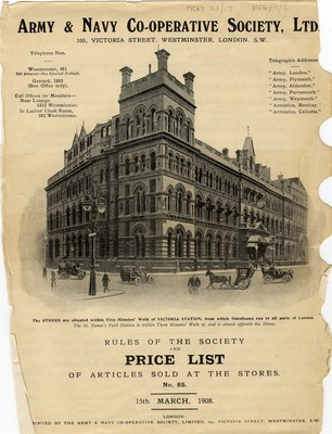 Army and Navy Co-operative Society Ltd Price List, 1908.