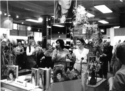 Helena Rubenstein make up promotion evening for Dickins and Jones, c.1970s.