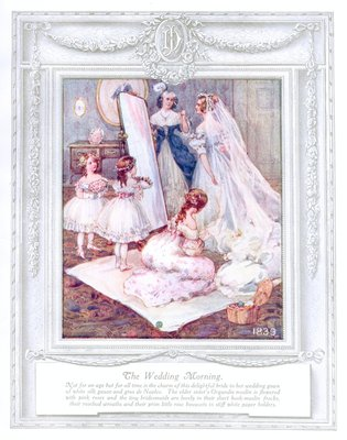 'The wedding morning' (1839). 'Upwards of a Century'. Dickins and Jones catalogue illustrating 100 years of fashion, 1909.