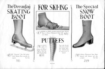 Winter boots, skates and skis advert in the Dickins and Jones winter sports season catalogue, 1926-27, page 8