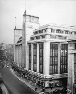 External view of John Barker's and Co., Kensington, 1959.