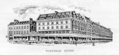 Drawing of Pontings store exterior, 1930.
