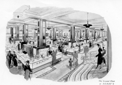 Drawing of Derry and Tom's store interior 1952.