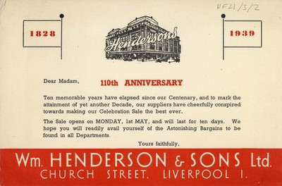 William Henderson & Sons 110th anniversary advertisement, 1939.