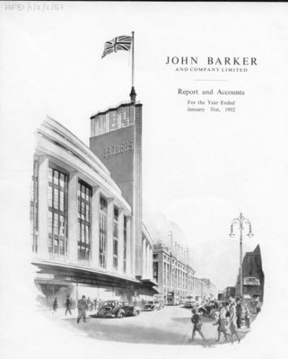 Drawing of John Barker & Co store exterior 1952.
