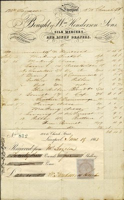 Receipt from William Henderson & Sons, 1863.